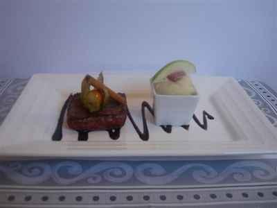 recette - pavé de biche sauce canelle vin, purée céleri pomme granny smith