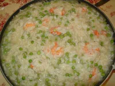 recette - risotto aux petits pois et au crevettes