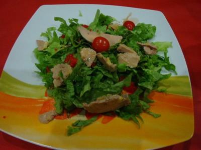recette - salade aux copeaux de foie gras et oeufs de lump