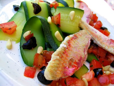 recette - salade de courgettes aux rougets