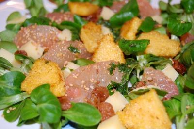 recette - salade de mâche aux pamplemousses et polenta