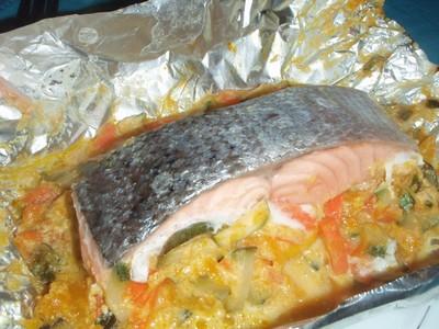 recette - saumon en papillote des îles