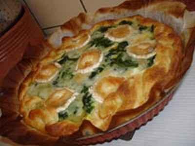 recette - tarte aux épinards, chèvre et lardons