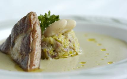 recette - velouté d'haricots tarbais (label rouge), fondue de poireaux au confit