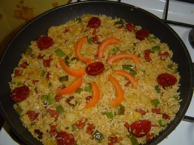 recette - arroz con chorizo y pimienta