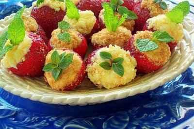 recette - bouchées de cheesecake aux fraises