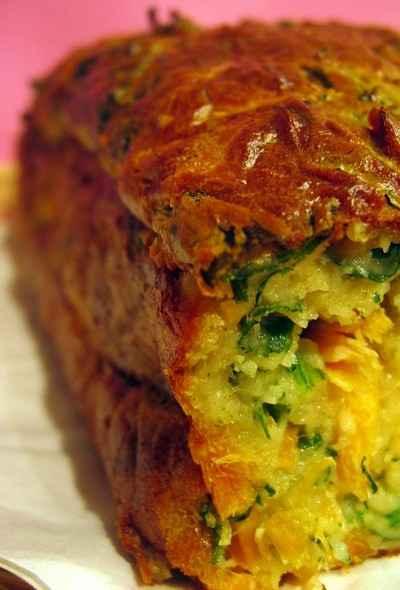 recette - cake roquette, truite et wasabi