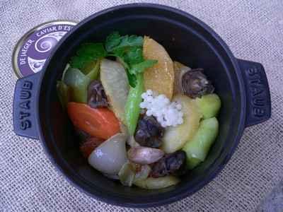 recette - cocotte de légumes d'hiver, escargot et son caviar