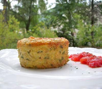 recette - flan de polenta à la ricotta, courgettes & chèvre