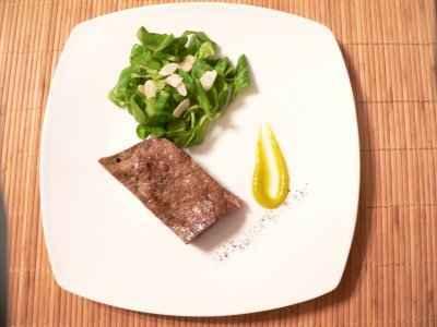 recette - foie de veau au poivre, purée de mangue