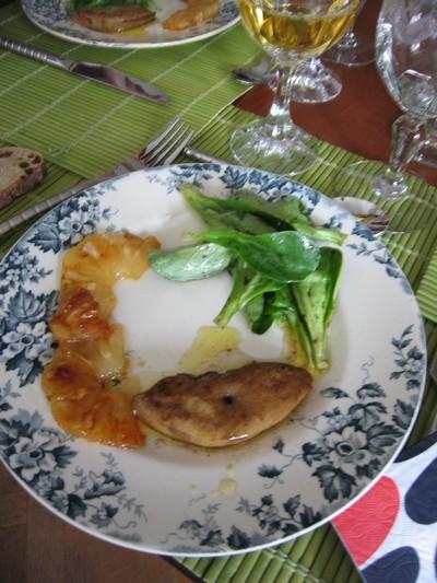 recette - foie gras poêlé à l'ananas caramélisé