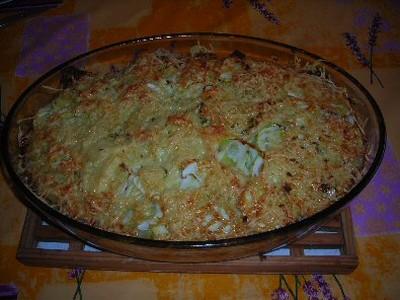 recette - gratin riz / courgettes / farce