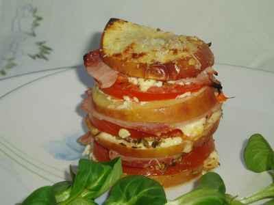recette - millefeuilles tomate, pomme et jambon
