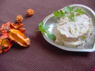 recette - rillettes de poireau et crabe au noix