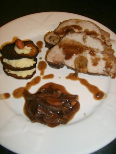recette - rôti de porc aux marrons glacés, millefeuille de rutabaga