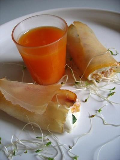 recette - rouleau de marlin et son nectar d'abricot