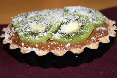 recette - tartelette choco kiwi sous un voile de coco