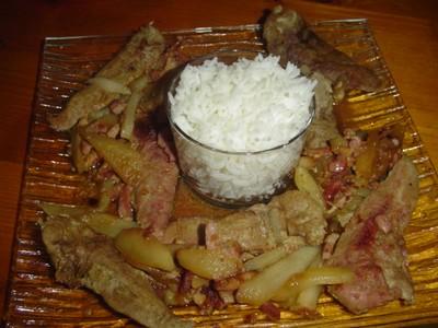 recette - aiguilettes de poulet aux poires