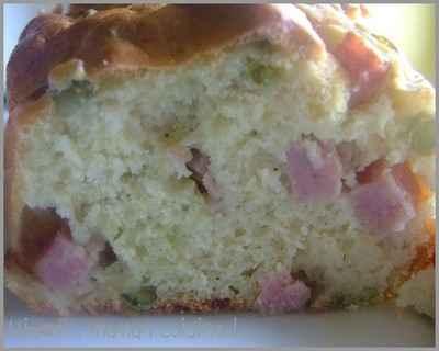 recette - cake léger aux petits pois & jambon