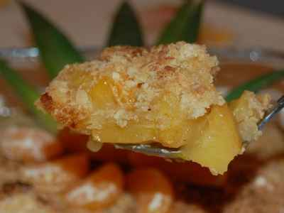 recette - crumble à l'ananas et clémentines
