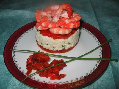 recette - dôme de crevettes sur son lit de merlu