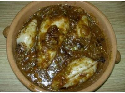 recette - encornets farcis aux champignons et au jambon serrano