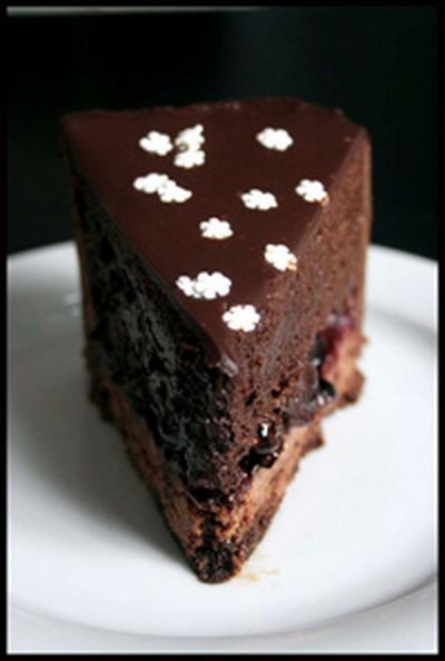 recette - entremet chocolat, cassis et vinaigre balsamique