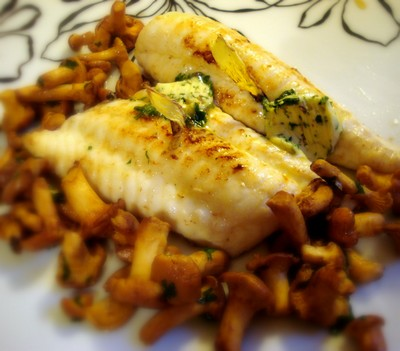 recette - filet de sole aux girolles et gingembre croustillant