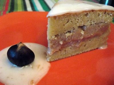recette - gâteau à la compote de pomme fourré au marron