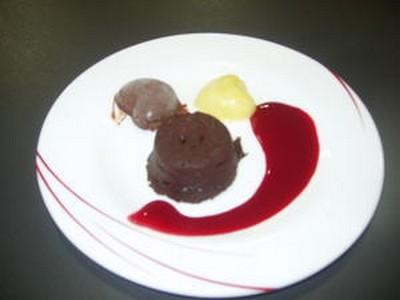 recette - gâteau coulant au chocolat , muscade vanille