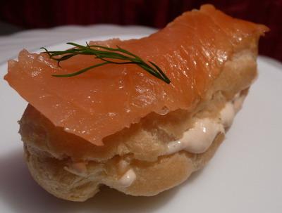 recette - mini éclairs au saumon