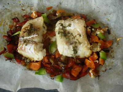recette - papillote de poisson et poivron