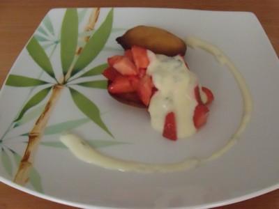 recette - petit biscuit au citron, fraise sucré  à la crème de basilic
