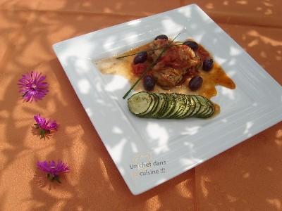 recette - poulet sauté aux olives violettes, courgettes rôties