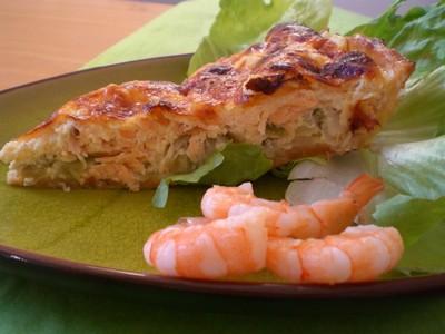 recette - quiche aux  poireaux et au saumon