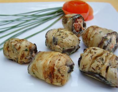 recette - rouleaux d'aubergines