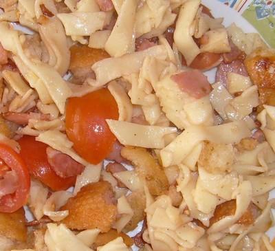 recette - salade de tagliatelles au jambon grillé