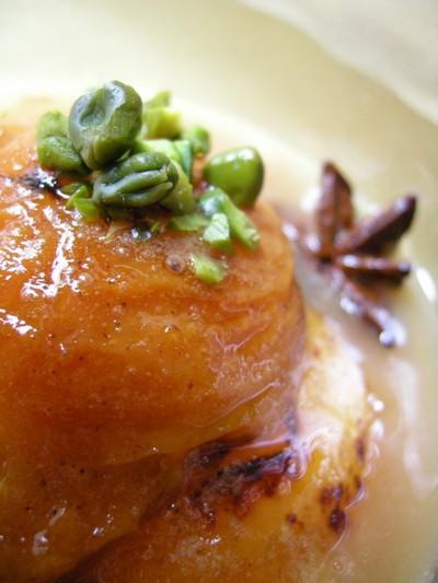 recette - sirop de vin doux à l'orgeat et son abricot rôti aux 5 épices
