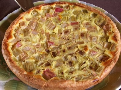recette - tarte à la rhubarbe à l'alsacienne