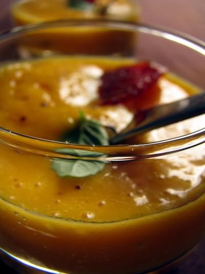 recette - verrine de butternut au chorizo piquant adouci à l'abricot sec