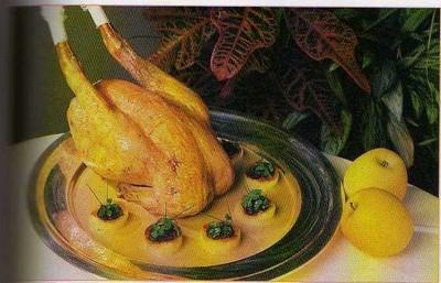recette - chapon rôti aux pommes et au boudin noir