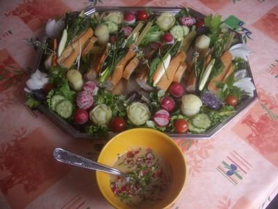 recette - charette de légumes nouveaux et vinaigrette de légumes