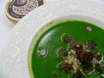 recette - crème de cresson, escargots et caviar