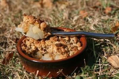 recette - crumble d'automne poires et châtaignes