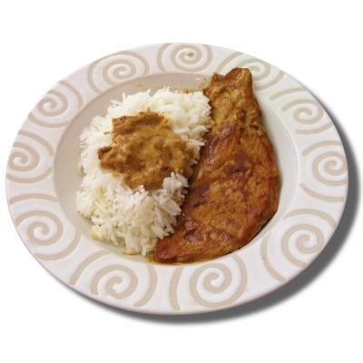 recette - escalope de veau sauce 'sahara' et son riz camarguais
