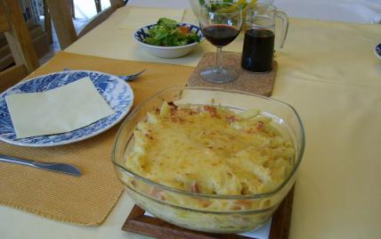 recette - gratin de pâtes au jambon