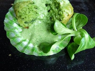recette - muffin à la mâche, roquefort et noix, sauce toute verte à l'avoine