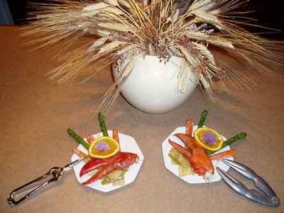 recette - pinces de homard et sa grecque d'asperges à l'orange maltaise