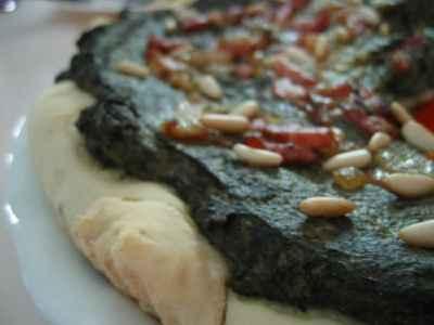 recette - pizza épinards pignons