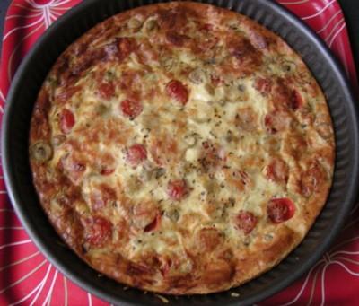 recette - quiche sans base au thon, fromage, tomates et olives